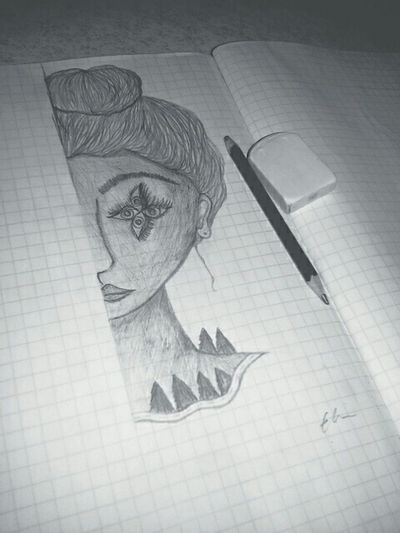 Art, Drawing, Creativity Drawing Girl Eyes Bw