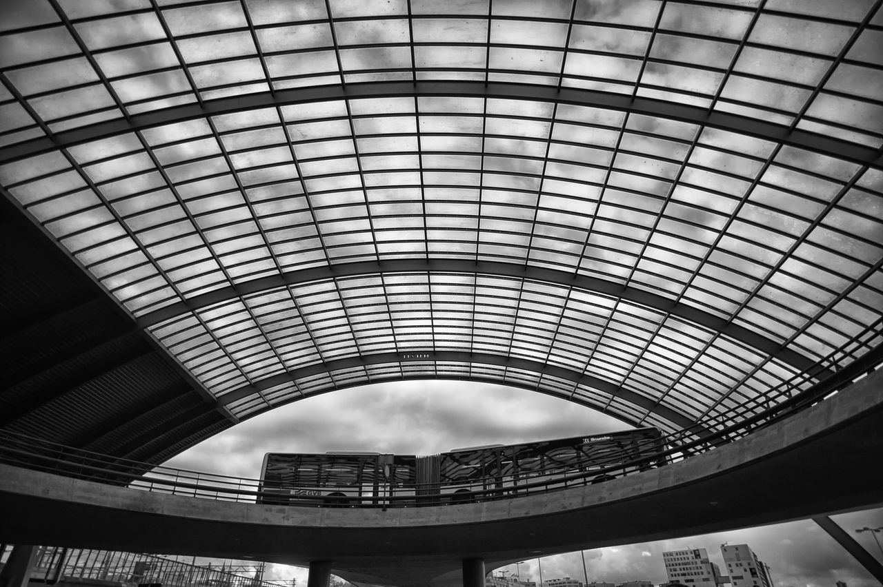 Bus in outer space? Amsterdam Architecture B&w Blackandwhite Bridge Built Structure Bus Ceiling City Day Holland Indoors  Modern Monochrome Netherlands No People Roof Transportation