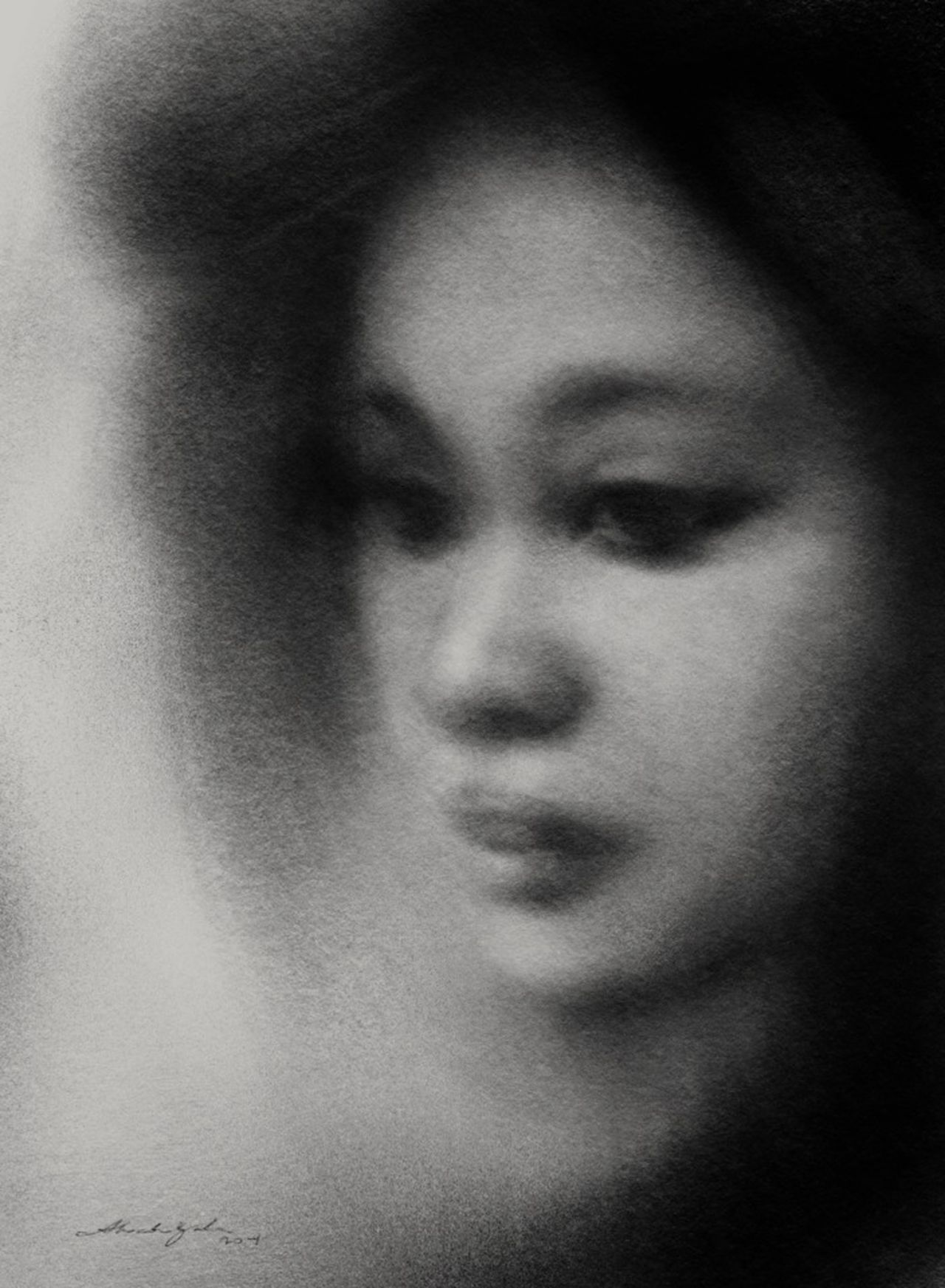 last night's drawing.... Drawing Art Blackandwhite Portrait Portrait Of A Woman Blackdrawing