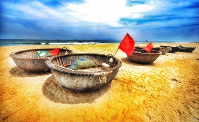 Traditional Boat at the Beach, Hoi An, Vietnam, Asia Sea Sky Beach Water Horizon Over Water Nautical Vessel Sand Cloud - Sky No People Moored Outdoors Scenics Day Nature Beauty In Nature Travelphotography Travel Destinations Travel Photography Mode Of Transport Hoi An, Vietnam Hoi An Boat Traditional