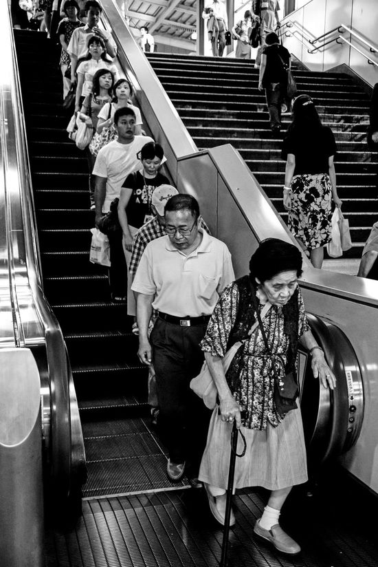 """Respect"" Indoors  Lifestyles Old Woman People And Places Real People Senior Men Stairs Station Train Blackandwhite Black And White EyeEm Best Shots EyeEm Gallery Travel City EyeEm Best Edits Eyeemphotography EyeEm Best Shots - Black + White EyeEm Masterclass EyeEmbestshots The Street Photographer - 2017 EyeEm Awards"