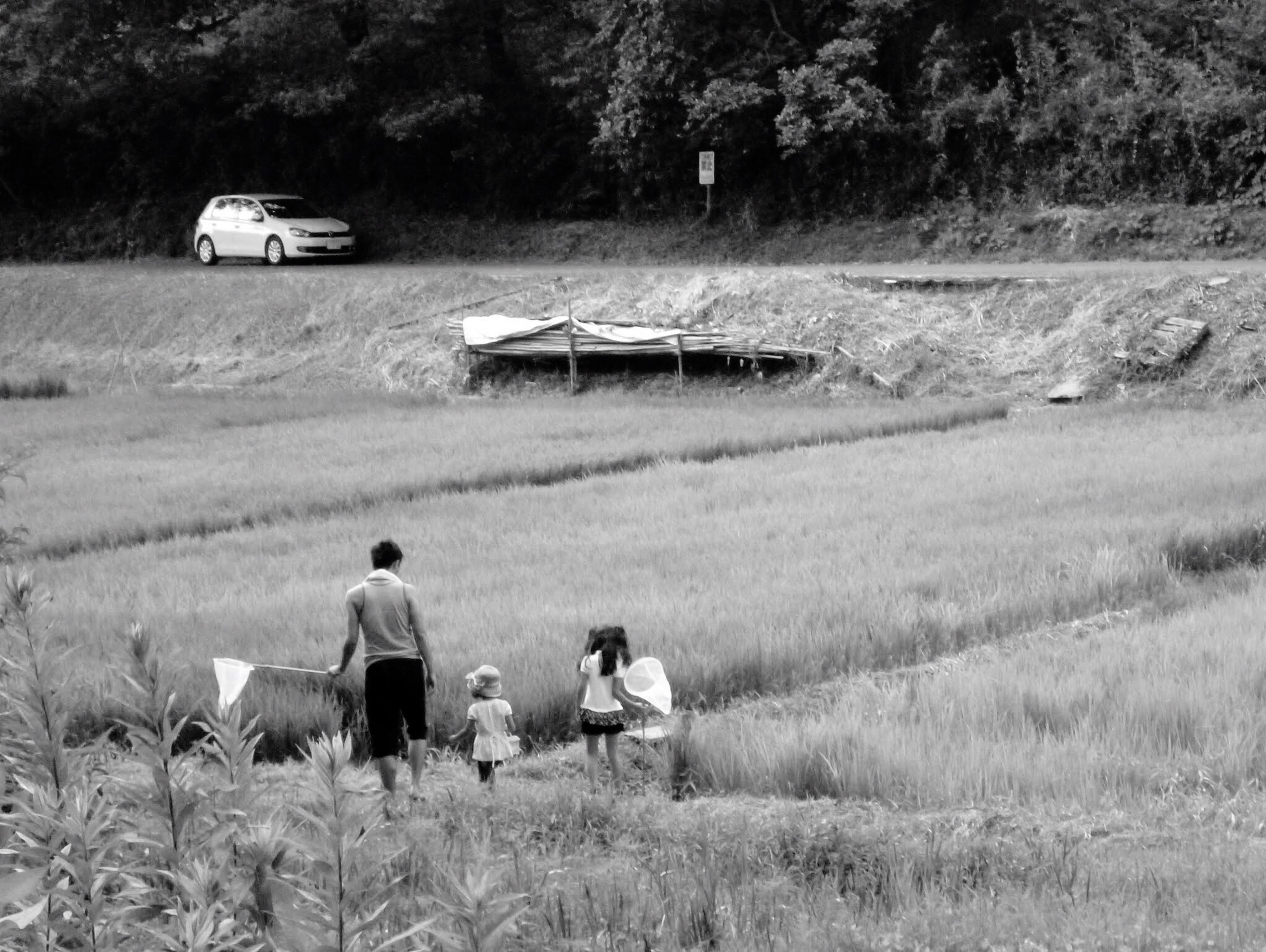 field, agriculture, farm, child, real people, rear view, nature, working, rural scene, landscape, growth, childhood, occupation, men, outdoors, day, one person, adult, people