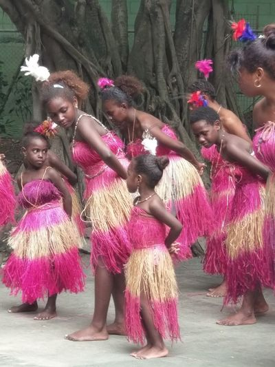 Bougainville Dancers Dancing Pink Color Arts Culture And Entertainment Papua New Guinea