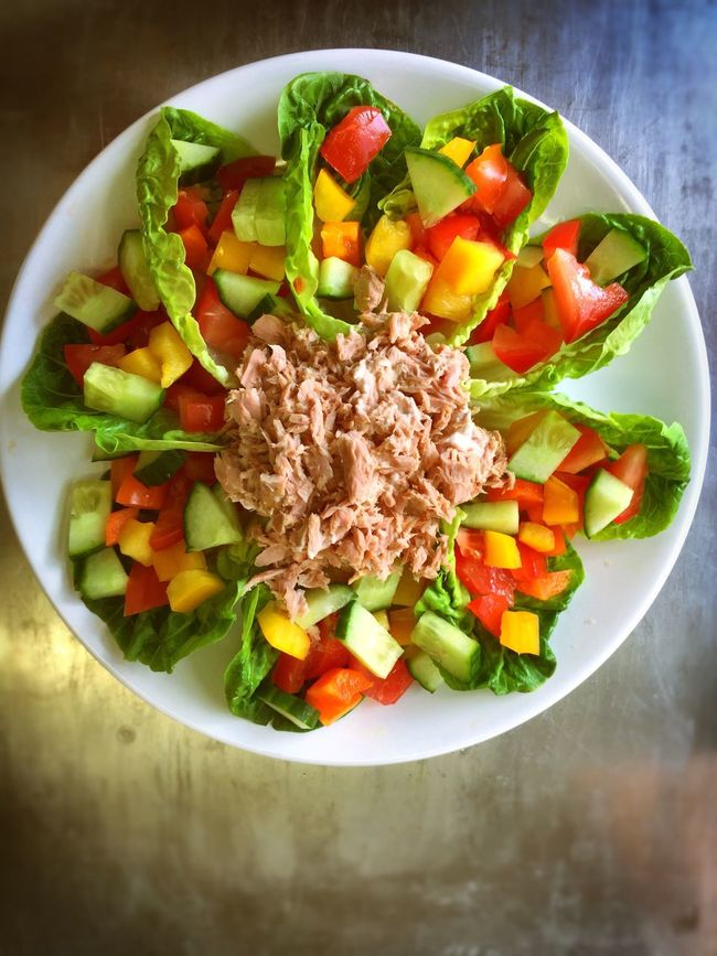 School Dinner Food On A Plate Salad Salad Time Greens Tuna Presentation Beautifully Presented Cucumber Lettuce Red Peppers Downton Salisbury