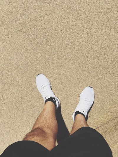 Low Section Human Leg Shoe One Person Human Body Part Personal Perspective Standing One Man Only Real People Men High Angle View Human Foot Lifestyles Day Sand Only Men Outdoors Beach Close-up