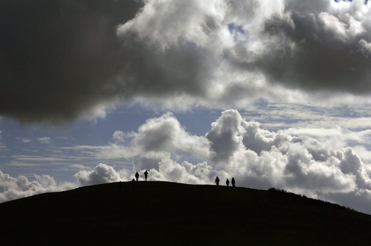 Beauty In Nature Cloud - Sky Countryside Day Landscape Malvern Hills Nature Outdoor Activities Outdoors People On A Hill Silouette & Sky Sky Walkers