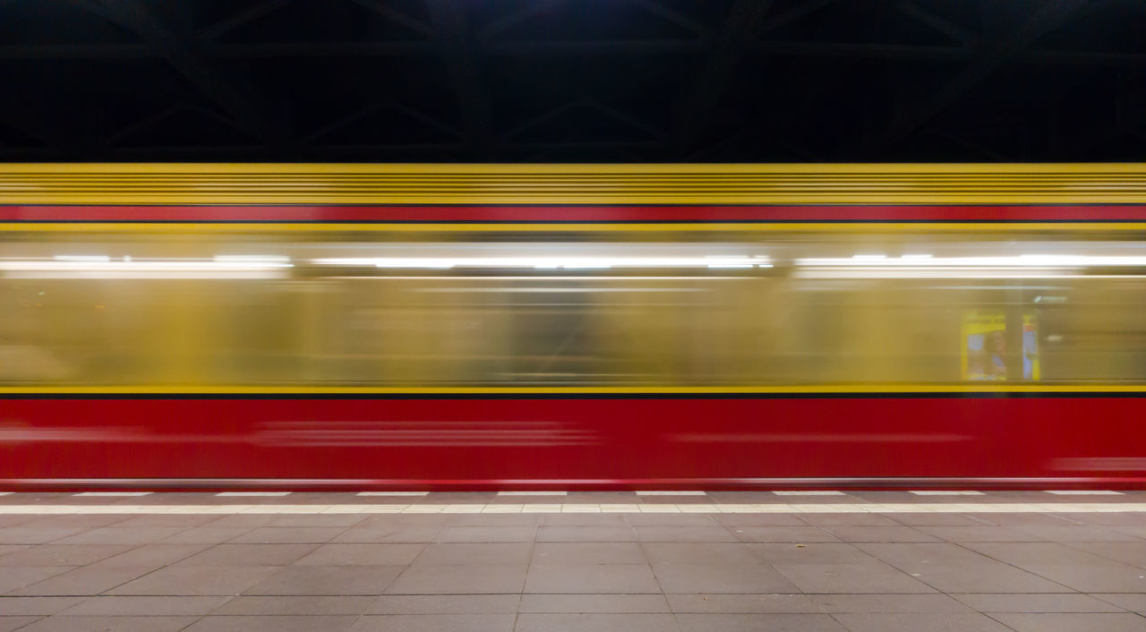 S-bahn Blurred Motion Illuminated Indoors  Long Exposure Mode Of Transport Motion Neon Life Neon Lights Night No People Public Transportation Rail Transportation Railroad Station Railroad Station Platform Red Speed Subway Subway Platform Subway Train Train - Vehicle Transportation