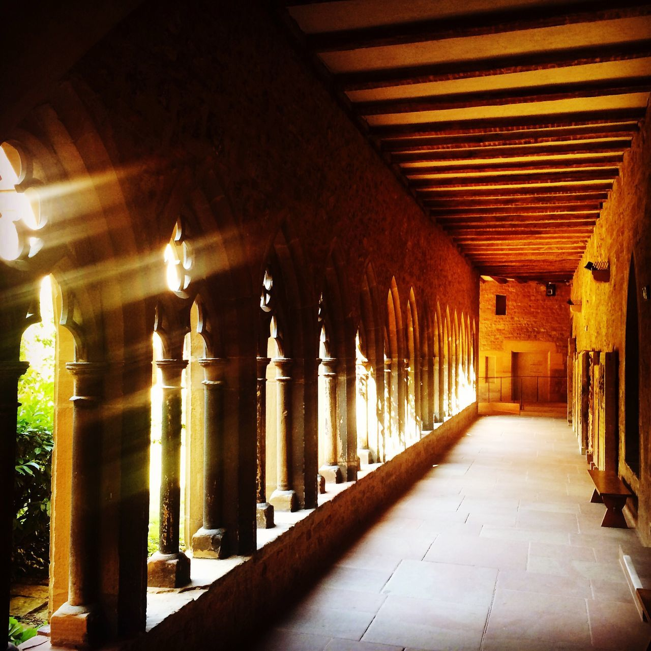 Of light and meditation. Illuminated The Way Forward Architectural Column Architecture Built Structure Cloisters  Cloister Silence Heat Freshness Stone Peace Peace And Quiet Peaceful