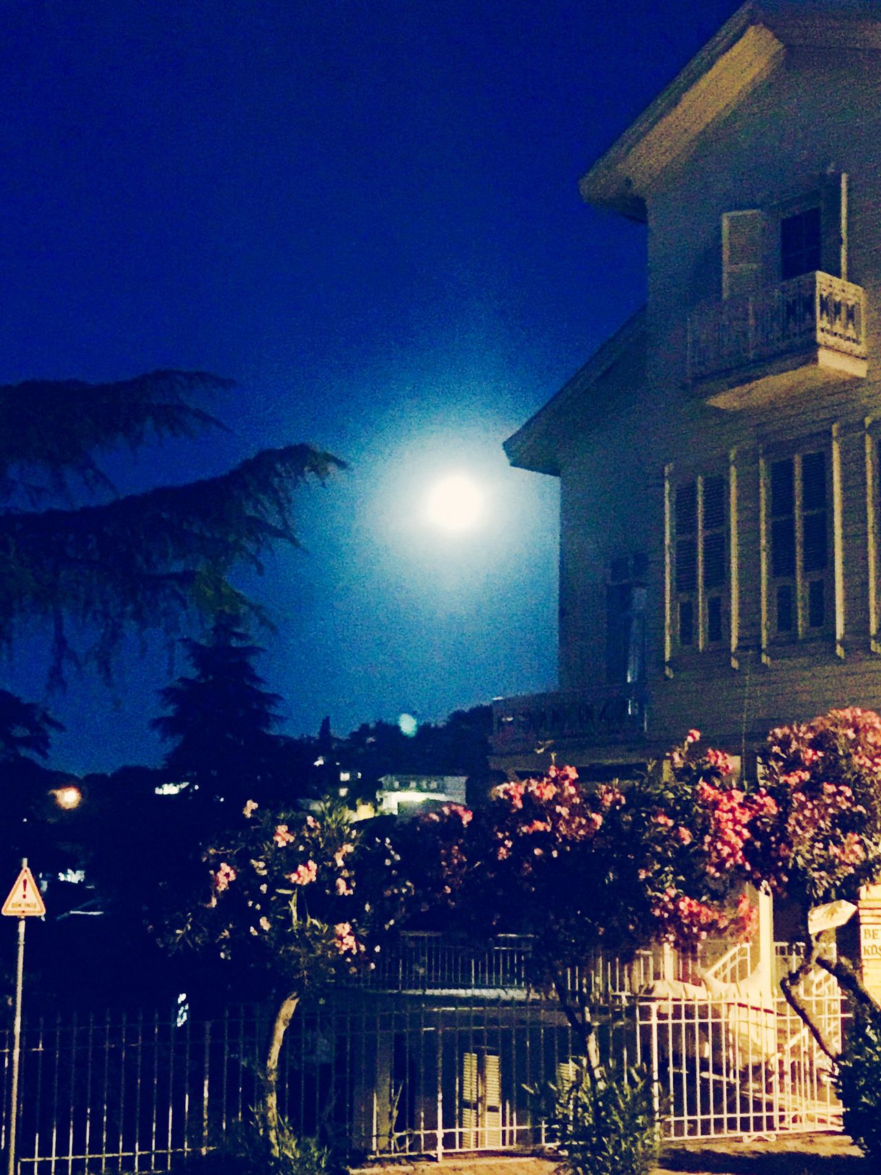Full Moon Old Building  Old House Redflowers Trees Princeislands Mobile Photography Mobilephotography IPhoneography Island Island Life