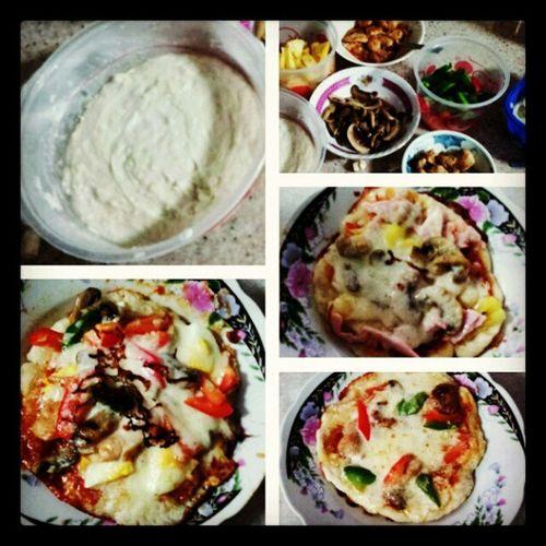 First attempt at making pizzas. frm left to right 1. BBQ chicken & egg 2.Hawaiian 3.mushroom &chicken Masterchefinthemaking
