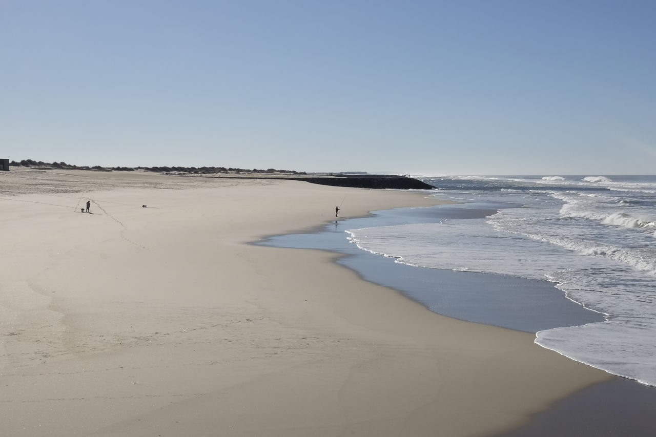 Winter Beach Beauty In Nature Clear Sky Day Fisherman Horizon Over Water Landscape Minimalism Nature Outdoors Praia Da Costa Nova Salt - Mineral Sand Sand Dune Scenics Sea Shore Sky Tranquil Scene Tranquility Travel Destinations Vacations Water Wave