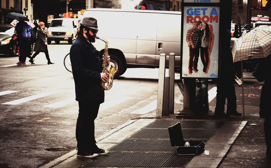 Living In America NYCImpressions Random People Color Portrait Saxophone Scenery Shots Street Music Simple Things In Life