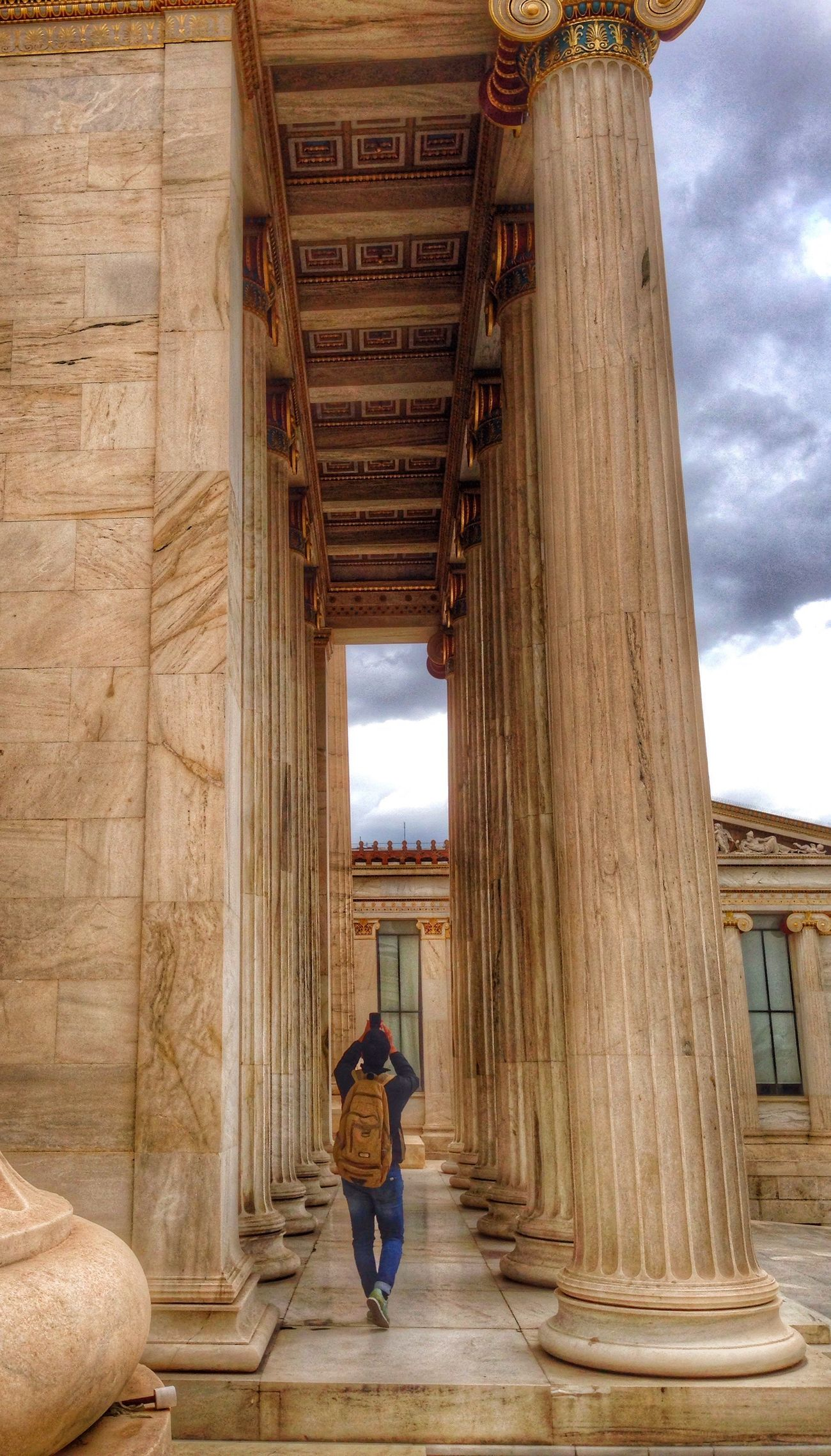 Tourist at the academy of Athens Academy Of Athens Athens, Greece Travel Journey Tourist