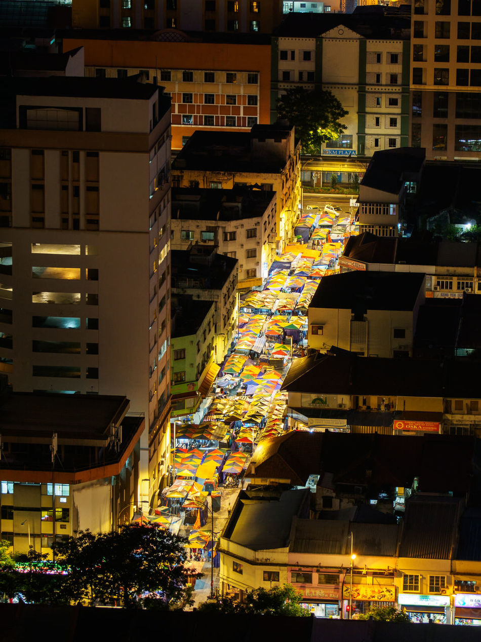 Aerial view on Chow Kit market in Kuala Lumpur Aerial View Bird's Eye View Chow Kit Chowkit City City Life Cityscape Colorful District Illuminated Kuala Lumpur Malaysia Market Market Stall Night Roof Street Travel Destinations
