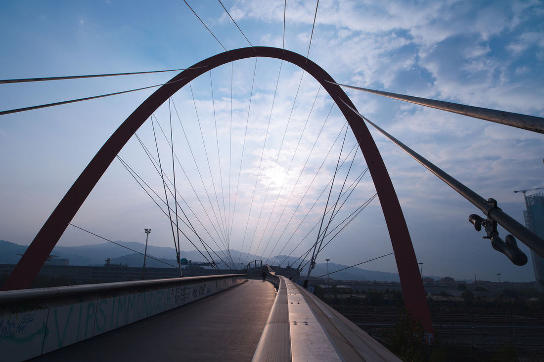 21mm Arch Bridge Bridge - Man Made Structure Canonphotography Connection No People Olympicgames Outdoors Sky Sky And Clouds Steel Cable Sun Suspension Bridge Transportation Wide Shot Zeiss