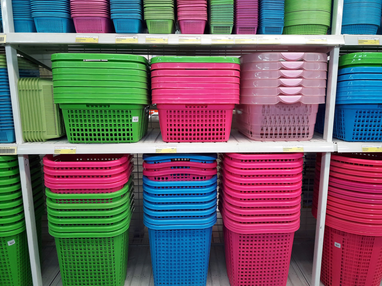 Backgrounds Basket Day For Sale Goods Large Group Of Objects Multi Colored No People Plastic Retail  Shelf Stack Store Trade