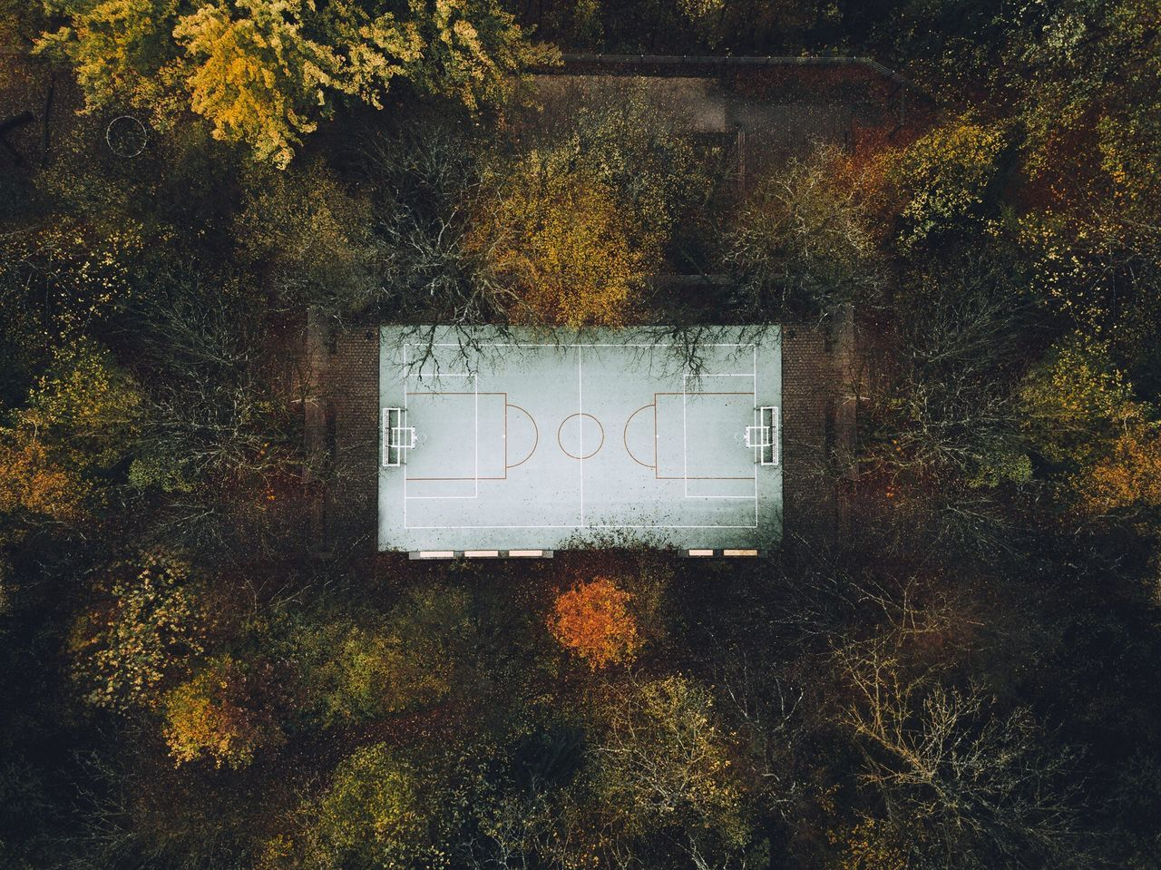 Drone Autumn leaf day outdoors no people Tree Nature close-up dronephotography drone photography Field Court Basketball basketball court