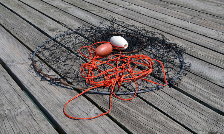 Fishing net on wooden boards of a pier as seen from above Day Fishing Fishing Net High Angle View Leisure Activity No People Outdoors Red Wood - Material OBX Outer Banks, NC