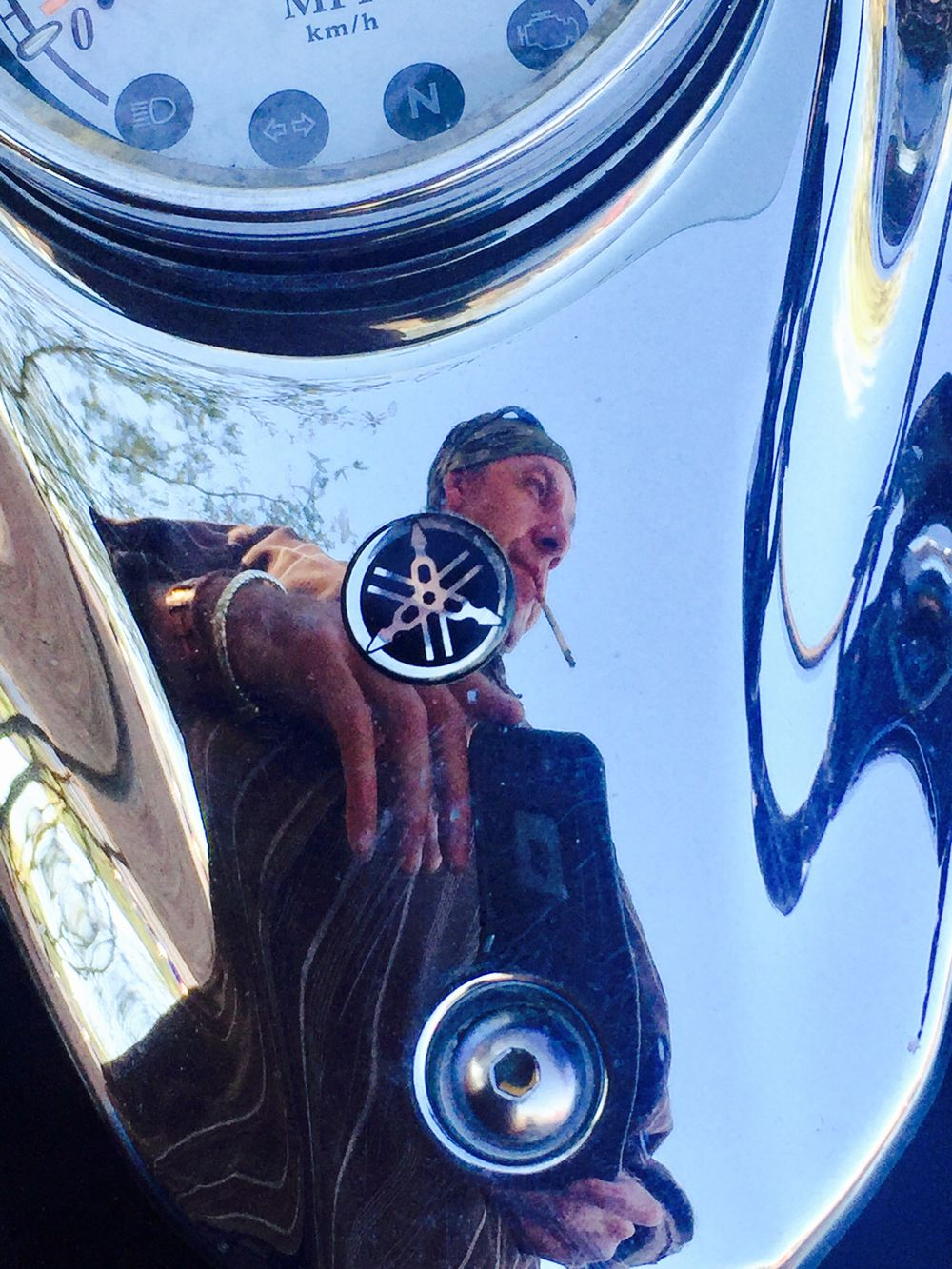 Reflection Real People One Person Men Lifestyles Portrait Leisure Activity Standing Indoors  One Man Only Technology Day Only Men Adult People Reflection Refelctive Motorcycles Mototbike Chrome Yamaha Vstar650 Vstar