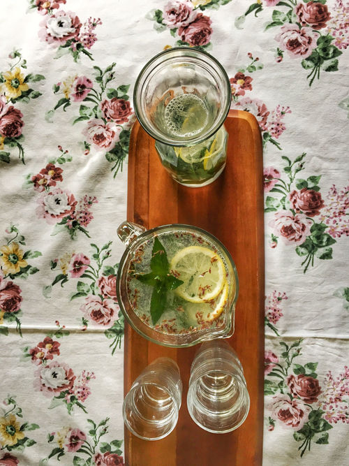 Lemonade on a table Day Directly Above Drink Drinking Glass Drinking Straw Food Food And Drink Freshness Glass - Material Healthy Eating Herb Herbal Tea High Angle View Ice Tea Indoors  Jar Leaf Lemonade Mint Leaf - Culinary Mint Tea No People Refreshment Tea - Hot Drink