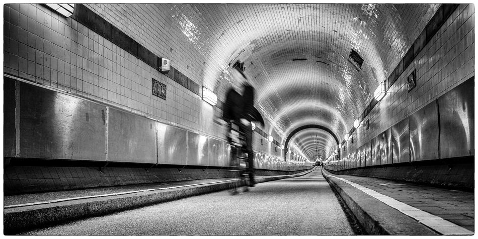 WarpSpeed Architecture Blackandwhite Bycicle Elbtunnel Hamburg Illuminated Tunnel
