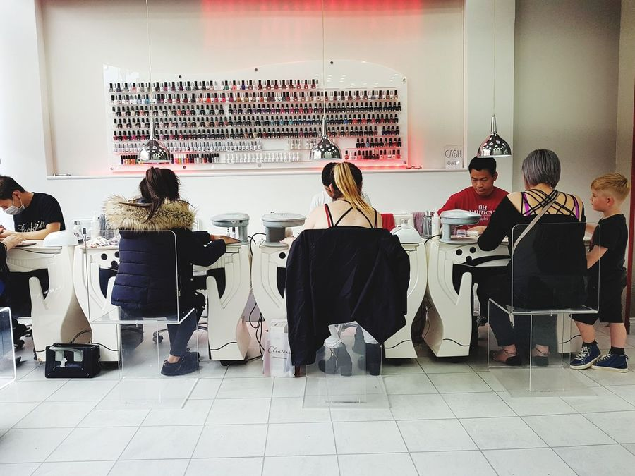 Indoors  Adult Full Length Togetherness People Sport Teamwork Adults Only Day Young Adult Nail Bar Salon Nails Gels Uv Nails