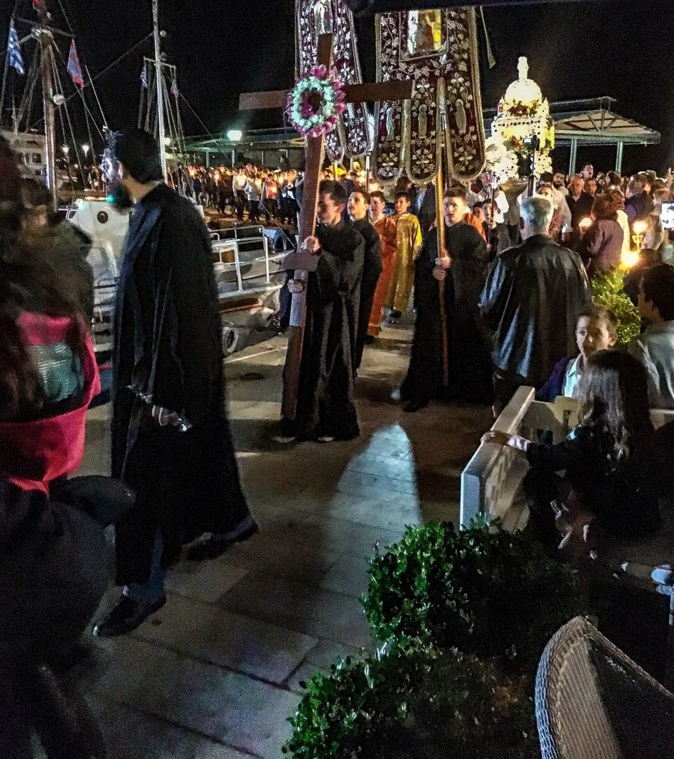 Greece Islandlife Large Group Of People Night Men Women Real People Outdoors Epitaph Easter Orthodox Priest Hollyfriday Travel Destinations Travel Photography