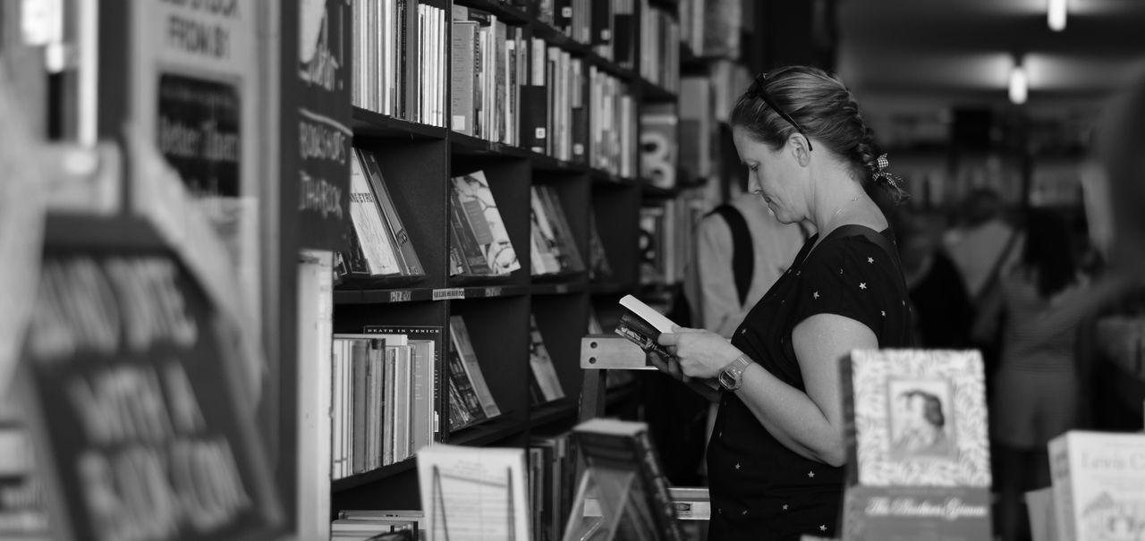 Library Shelf Indoors  Bookshelf Women Reading reading a book Blackandwhite First Eyeem Photo