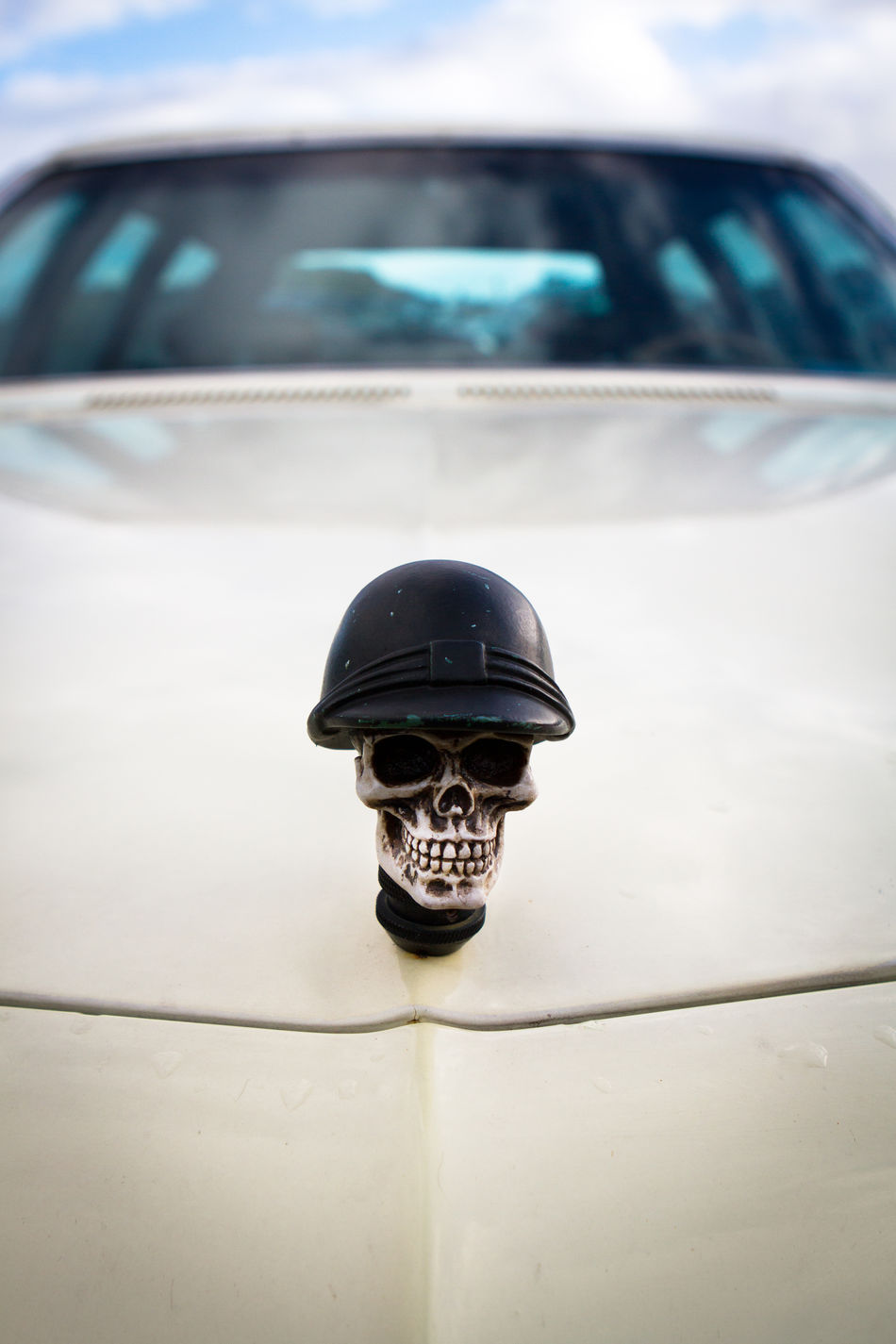 Art Is Everywhere Blurred Background Bonnet Car Close-up Day Death Death's Head Decoration Front View Helmet Land Vehicle Mode Of Transport No People Outdoors Selfmade Skull Transportation