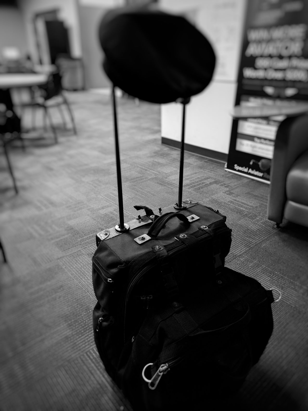 Table Indoors  No People Appliance Day EyeEm Enjoying Life Taking Photos Tranquil Scene Full Frame Selective Focus Travel Pilot Flying Travel Photography Traveling Suitcase Hat Public Transportation Black & White Black And White Photography Indoors  Airlinepilot Airport Airport Waiting