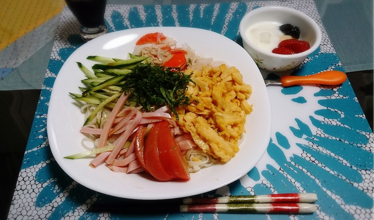 お休みなさい☆ 冷やし中華 Japanese Food Delicious Noodles