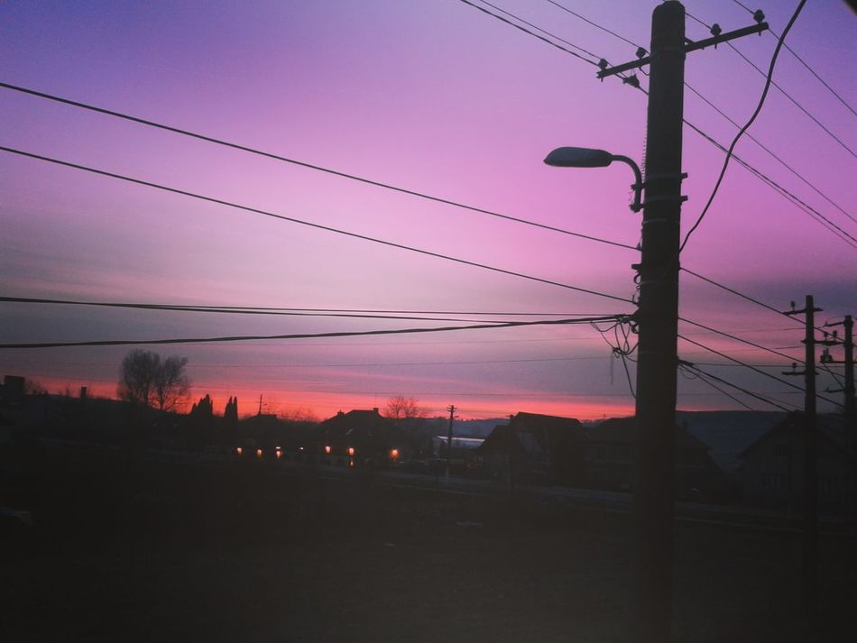 Sunset Cable Electricity  Power Supply Power Line  Outdoors Silhouette Sky Pink Color Electricity Pylon Tree No People Nature Telephone Line Beauty In Nature Night