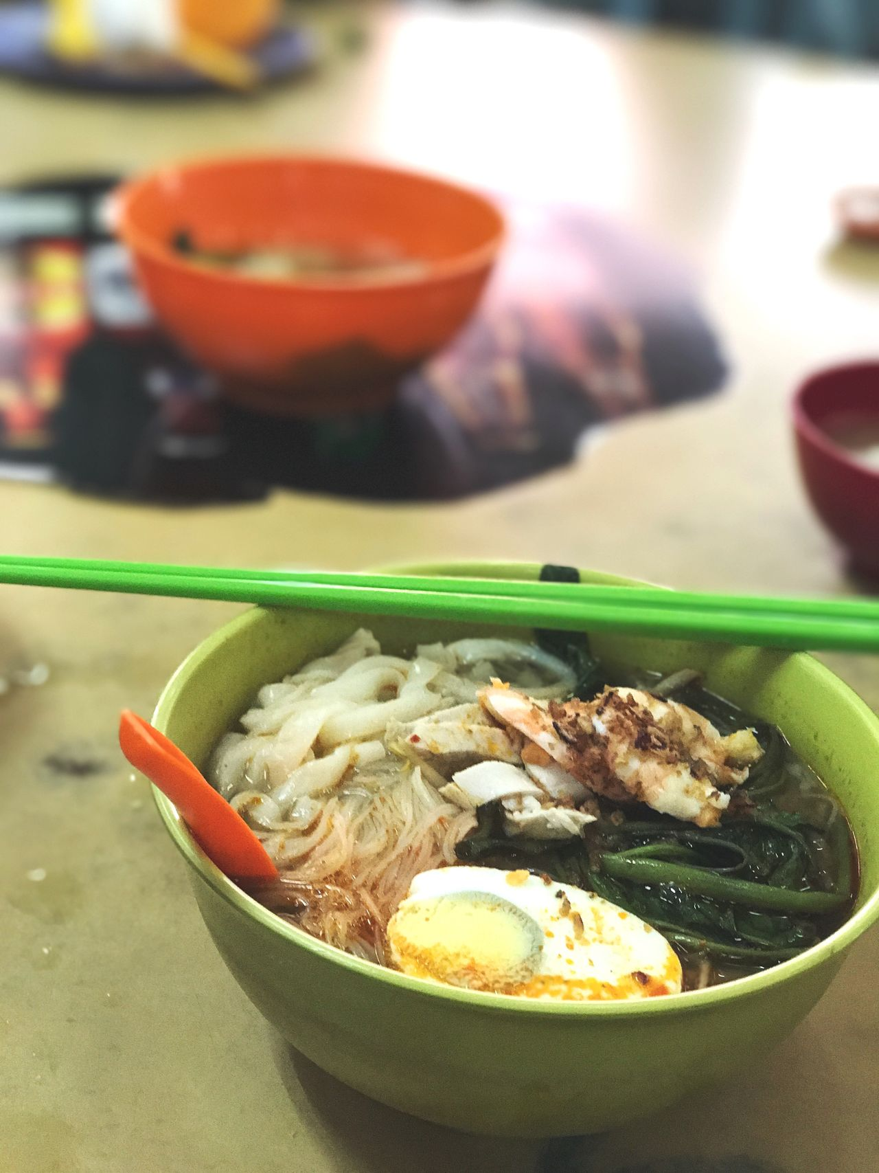 Prawn Noodles Chinese Food Bowl Food And Drink Noodles Food Soup Ramen Noodles Noodle Soup Indoors  Healthy Eating Table Freshness No People Japanese Food Ready-to-eat Focus On Foreground Chopsticks Serving Size Close-up Soup Bowl Prawn Egg Chinese Asian
