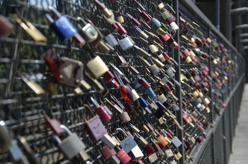 Token of love (padlocks) Bridge Caputh Close-up Day Focus On Foreground Large Group Of Objects Love Lock Multi Colored Outdoors Padlocks Token Of Love Vorhängeschlösser