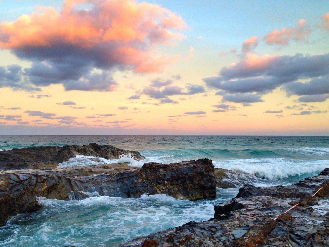 Beauty In Nature Rock - Object Coastline Sunset Beach Australia Gold Coast Beachphotography Queensland Wave Ocean Sky Cloud - Sky