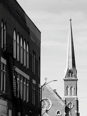 Building Exterior Architecture Sky Built Structure City Old-fashioned No People Outdoors Day Clock Face steeple fire escape beautiful architecture downtown Beautiful ♥ Building Feature Building Photography Steeple Top Scenics Tranquility