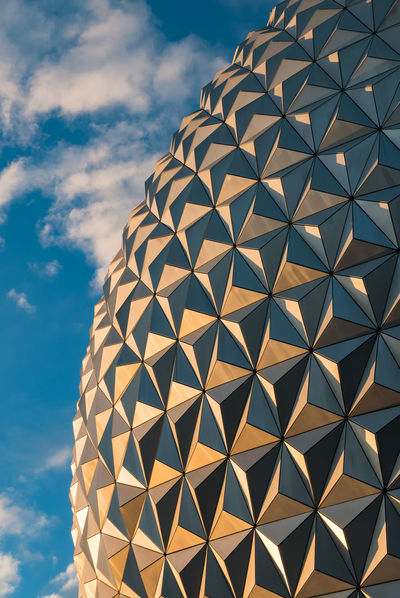 Architecture Built Structure Day Epcot Golden Light Low Angle View Modern No People Outdoors Outdoors Photograpghy  Pattern Sails Sky