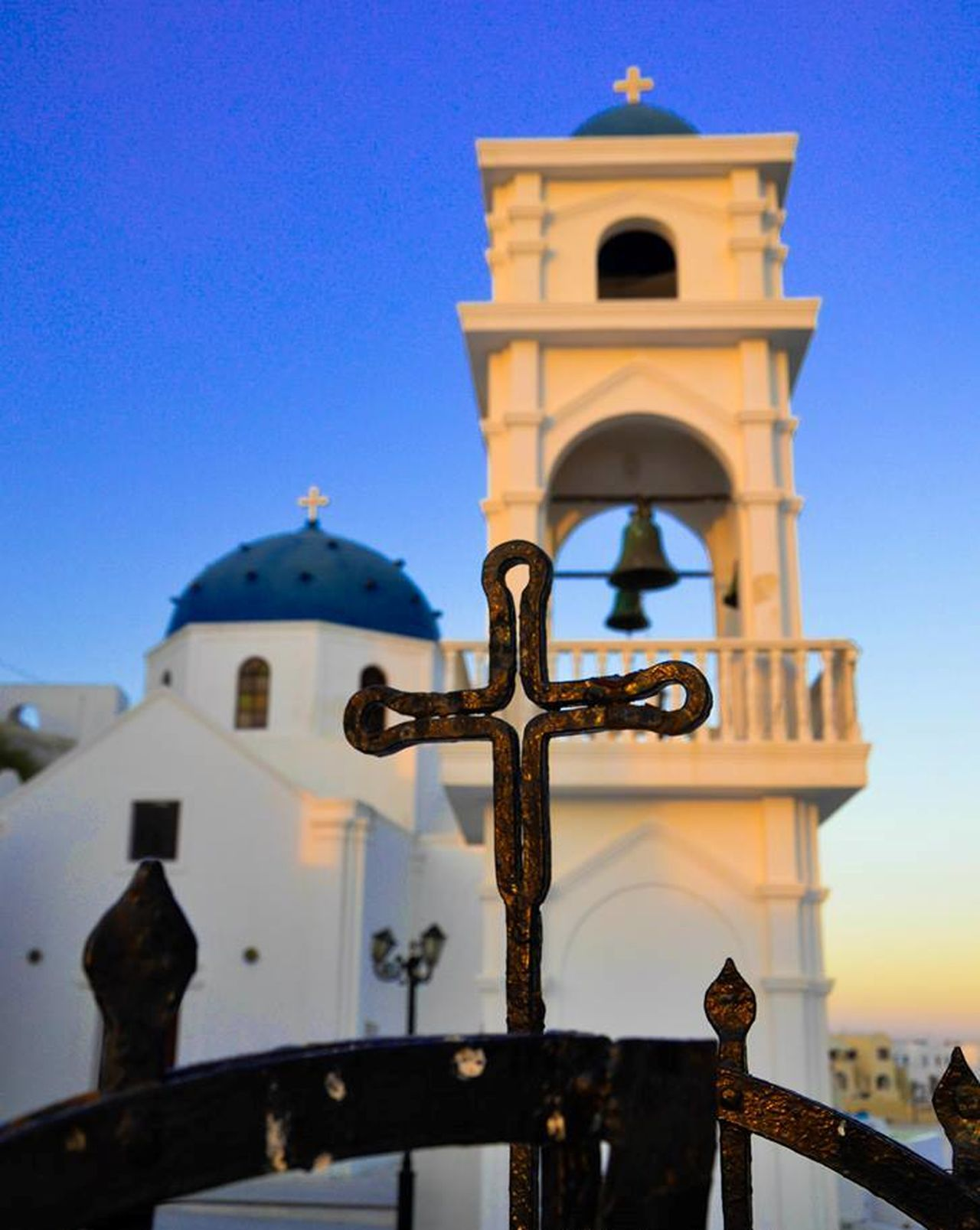 #santorini Architecture Blue Building Exterior Cross Low Angle View Place Of Worship Religion Sky Spirituality