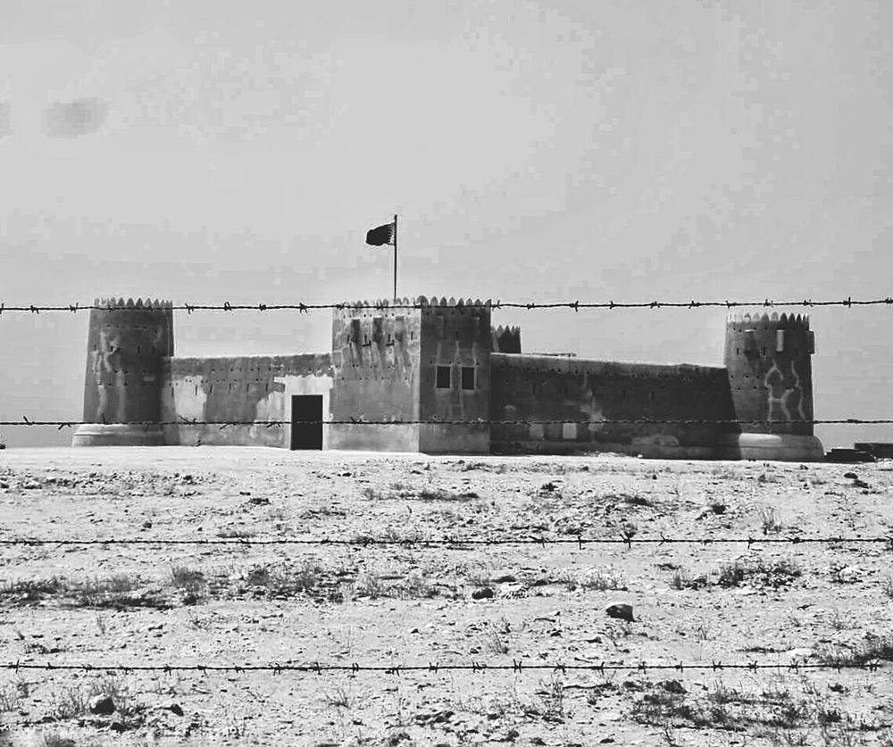Built Structure Architecture Clear Sky No People Building Exterior Fort Fortress Façade Barbed Wire Qatar Middle East Middle Eastern Military Structure Military Monochrome Photography