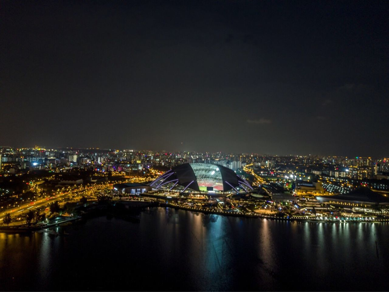 Flying High Architecture Night Cityscape Built Structure Sky No People Droneshot Dronephotography High Angle View Architecture Stadium Dome stadium Dome