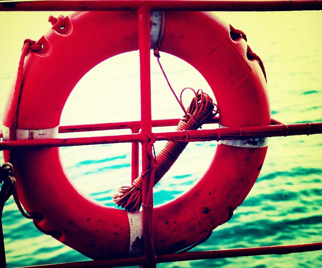 nautical vessel, outdoors, day, close-up, safety, no people, life belt, ship, red, water