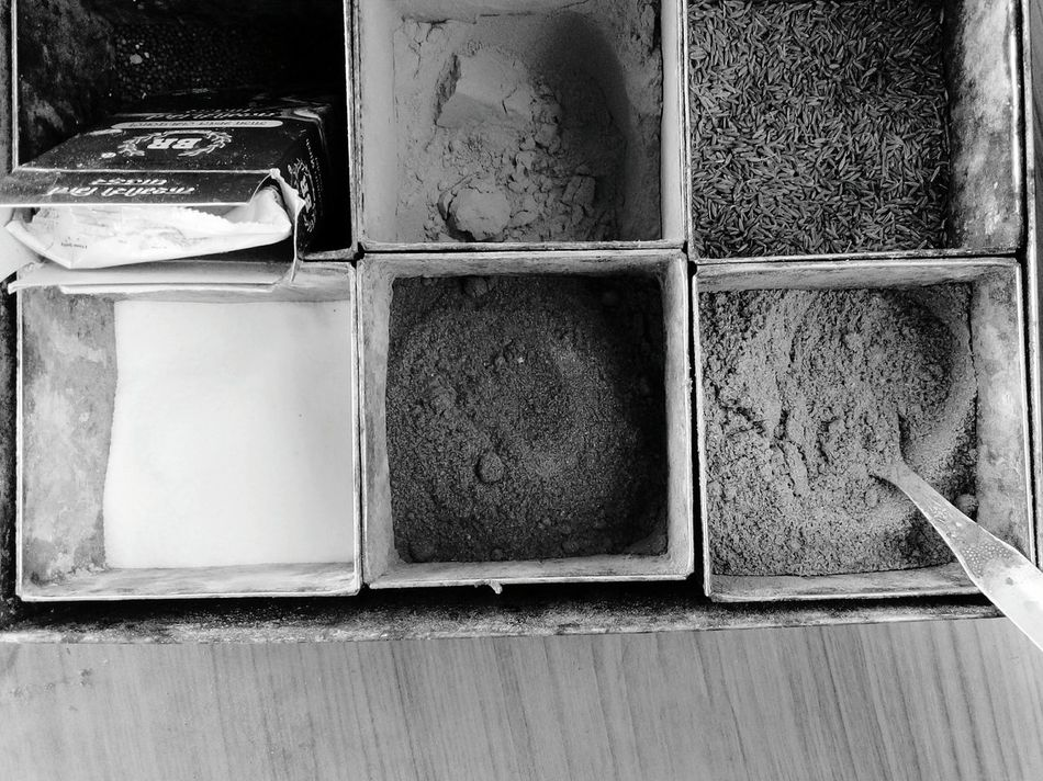 Everything In Its Place Syatematically Arranged Mobile Photography Indian Spices Tin Boxes Tiny Spice Boxes Top View Monochrome Photography Mobile Phone Photography SSClicks SSClickPics SSClickpix
