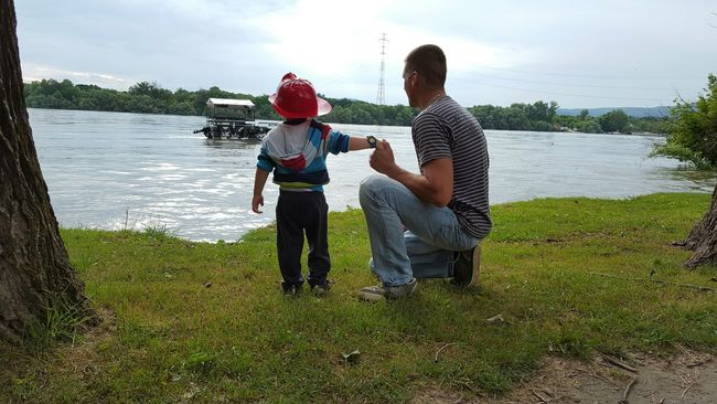 Fatherhood Moments Casual Clothing Childhood Lifestyles Family Innocence Danube Danube River Danuberiver Riverside Wathing The Water Watching The River Little Fireman Father & Son