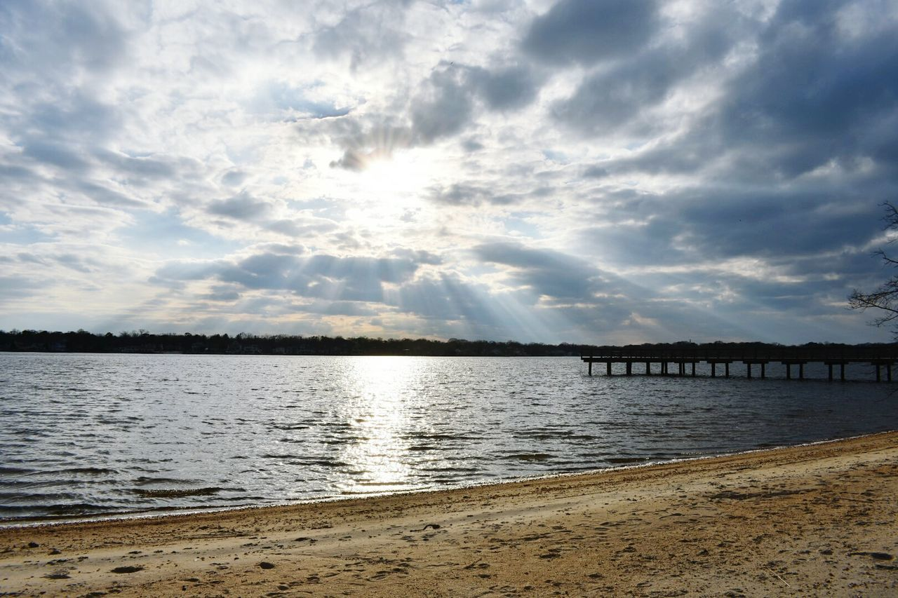 Water Sea Nature Scenics Beauty In Nature Cloud - Sky Reflection Outdoors Tranquil Scene Rippled Sunbeam Sunset Sky Idyllic Tranquility No People Landscape Day This Week On Eye Em