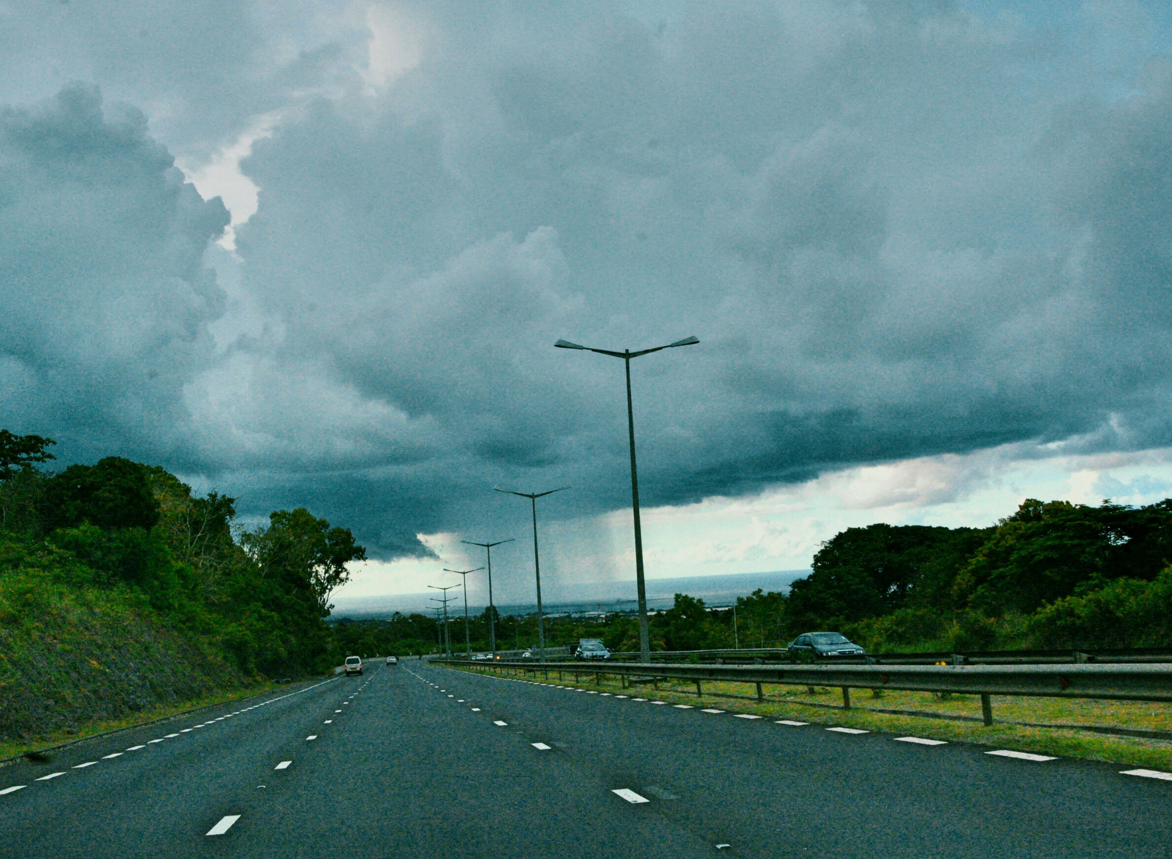 road, cloud - sky, transportation, car, no people, sky, storm cloud, tree, rain, power in nature, highway, the way forward, nature, land vehicle, dramatic sky, storm, outdoors, thunderstorm, day