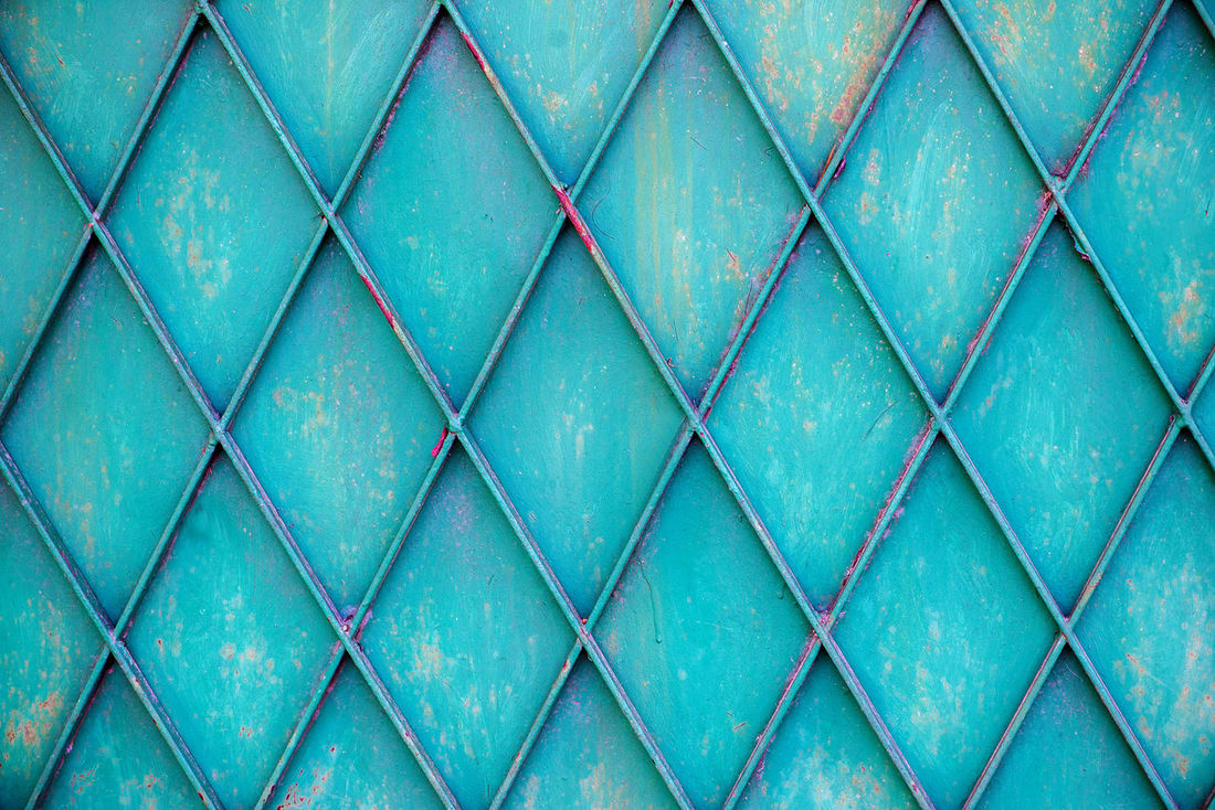 Abstract Backgrounds Blue Close-up Construction Day Fence Full Frame Full Length Green Horizontal Industrial Industry Metal Gates No People Outdoors Pattern Pattern, Texture, Shape And Form Textured  Urban