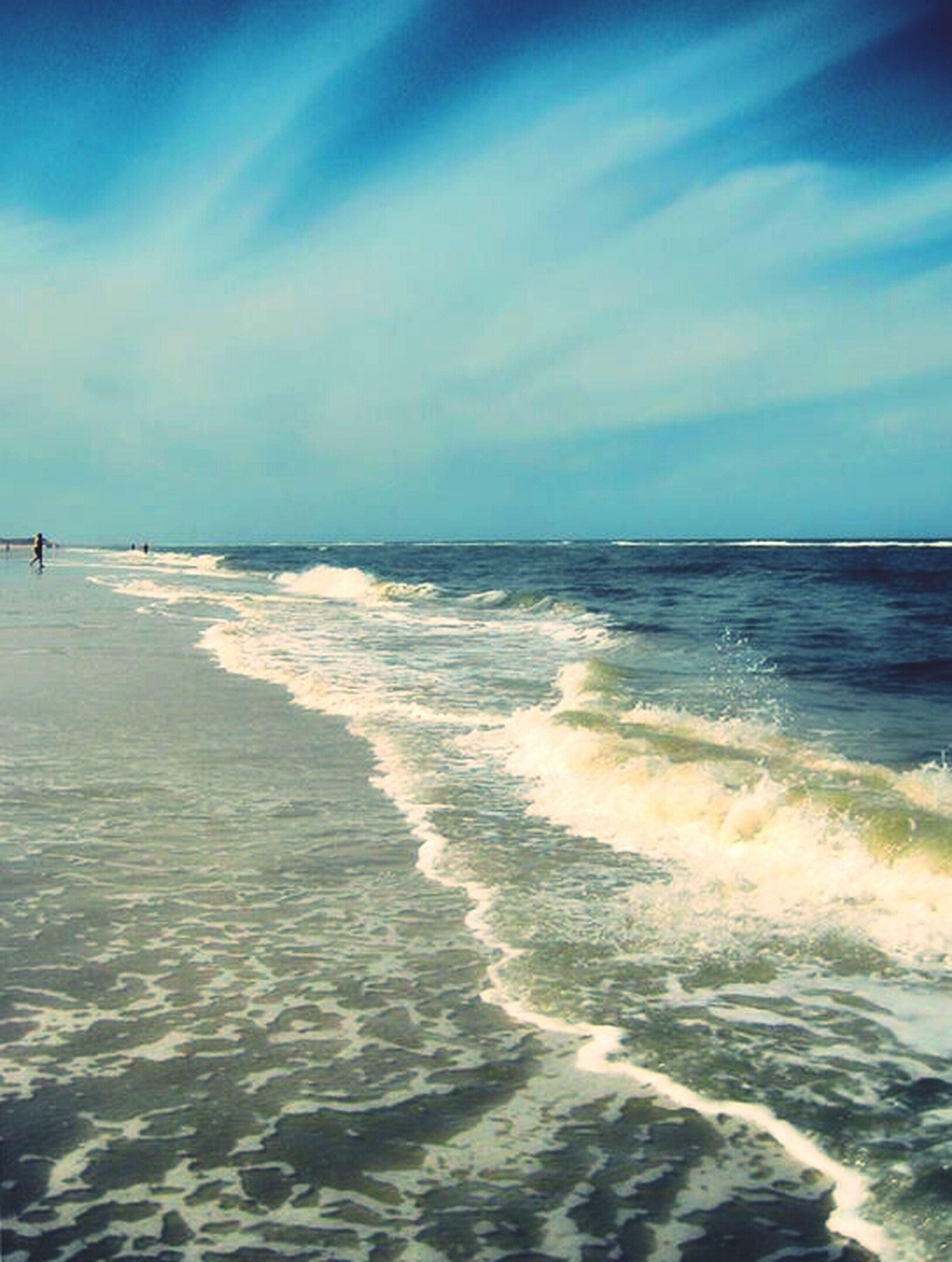 sea, water, beach, horizon over water, sky, shore, scenics, sand, tranquil scene, beauty in nature, wave, tranquility, surf, nature, cloud - sky, blue, idyllic, coastline, seascape, cloud