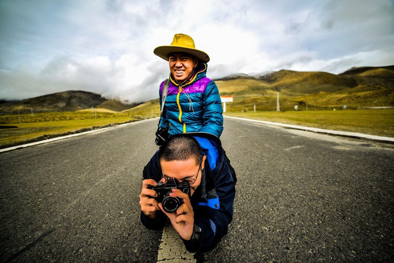 EyeEmNewHere Child Males  Boys Two People Road Family Togetherness Small Father Son Fun Offspring Nature Looking At Camera Transportation Portrait Freedom Leisure Activity Sports Helmet