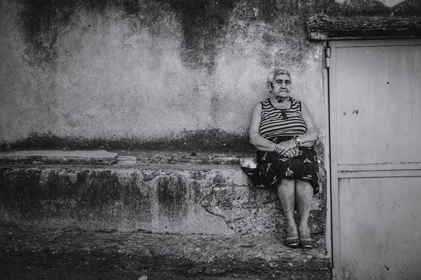 One Person Real People Streetphotography Photo Photography The Week On EyeEm Monochrome Blackandwhite Check This Out Black And White Street Photography Urban Life Fujifilm Urban Outdoors Person Portrait Woman Sitting Day Travel Telavi Georgia Old Woman Black & White Friday