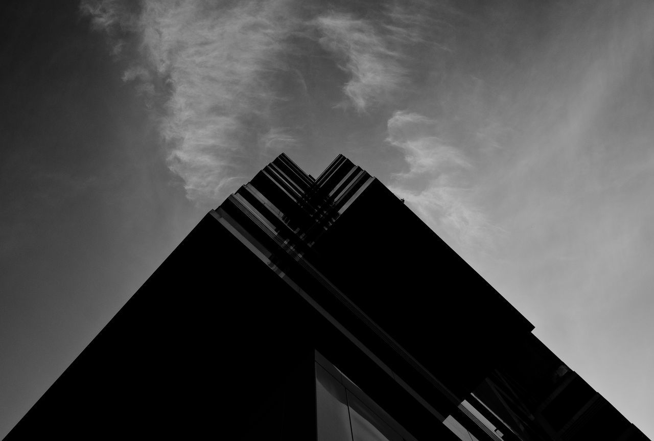 Architecture Black & White Blackandwhite Building Exterior Built Structure City Clouds And Sky Day Low Angle View Modern No People Outdoors Sky Sky And Clouds Skyscraper Urban Geometry
